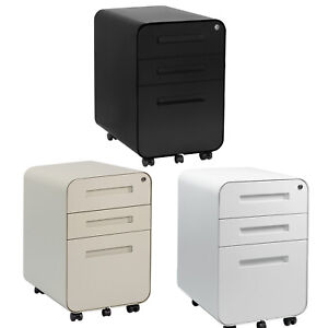 3 Drawer Mobile File Cabinet locking Filing Cabinet Rolling Pedestal Under Desk