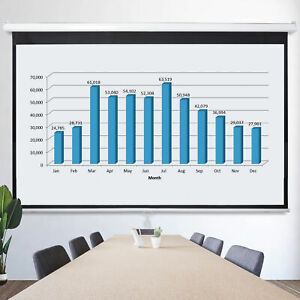 100 Inch 16 9 Manual Pull Down Projector Projection Screen House Theater Movie
