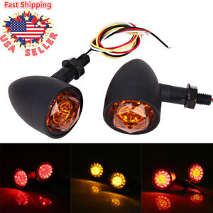 2x Universal Led Motorcycle Bullet Turn Signal Tail Light Amber Red Indicators