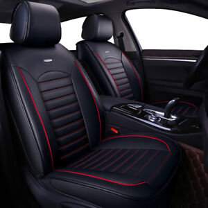 5 Seat Universal Car Seat Covers Deluxe Leather Cushion Full Set Cover Black red