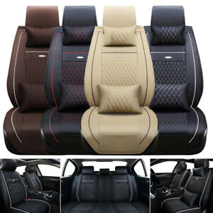 Universal Deluxe Leather 5 seats Auto Car Seat Cover Front Rear Full Set Cushion