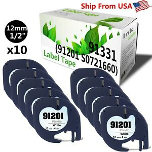 10 pack Dymo 91201 Label Tap Used For Label Writer 400 Duo black On White