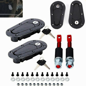 Car Quick Release Locking Hood Latch Pin Kit Black Carbon Fiber Universal Fit