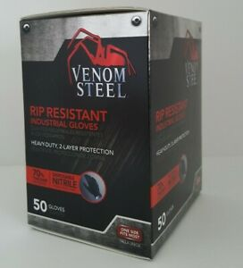 Venom Steel Nitrile Black Rubber Gloves One Size Fits Most 50 Count New