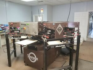 Brown Screen Printing Press Electra Print Jr 6 color 7 Station all Electric