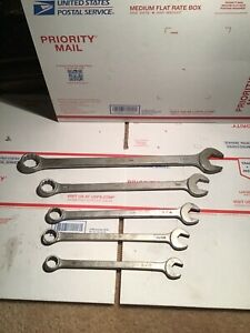 Lot Of 5 Mac Tools Combination Wrenches Partial Set 5 8 11 16 3 4 7 8 1 1 16