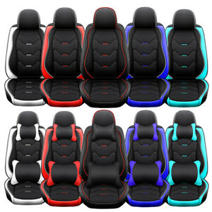 5 Car Seat Cover W Waterproof Leather Full Set Universal Fit For Most Suv Sedan