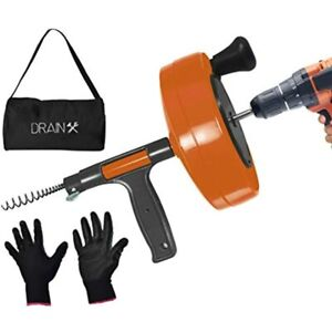 Drainx Power Pro 25 ft Steel Drum Auger Plumbing Snake With Drill Attachment Use