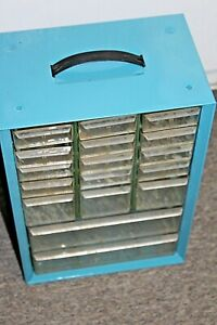 Akro Mils 17 Drawer Storage Cabinet Tool Small Parts Bin Vtg Metal Handle