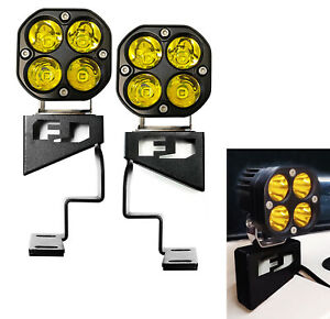 Yellow Round Shape Led Front Cowl Lights W Brackets For 07 14 Toyota Fj Cruiser
