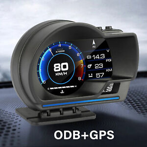 Obd2 Gps Hud Gauge Head Up Car Digital Display Speedometer Turbo Rpm Alarm Temp