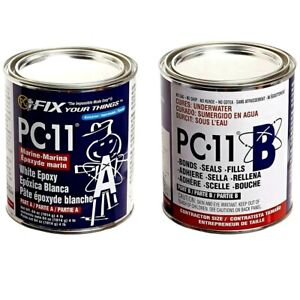 Pc 11 Two part Marine Grade Epoxy Adhesive Paste Off White 4lb In Two Cans