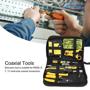 Coaxial F head Network Tools Cable Kit 3 in 1 Wire Stripper Plier Tester W Bag