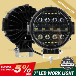7 Inch Round Led Work Light Spot Beam Lamp Drl Driving Reserve Offroad 4x4 Us