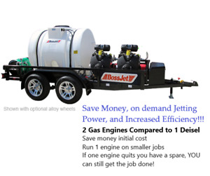 Bossjet Max Trailer Mounted Sewer Jetter 4000psi 18 0gpm loaded