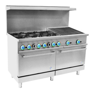 60 Inch Gas Range 6 Top Burner With 24 Inch Charbroiler 2 Ovens free Shipping