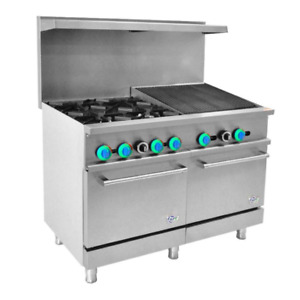 48 Inch Gas Range 4 Burner With 24 Inch Charbroiler 1 Oven free Shipping