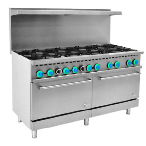 60 Inch Commercial Gas Range 10 Top Burner With 2 Ovens R60 free Shipping