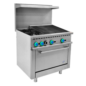 36 Inch Gas Range 2 Burner With 24 Inch Charbroiler 1 Oven free Shipping