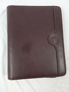Day Runner Burgundy Genuine Leather Zip Planner Organizer Binder Euc 10 x8