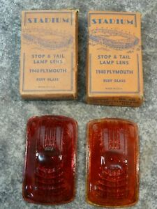 Nos Stadium 1940 Plymouth Tail Lights Lenses Pair Red Glass