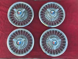 1963 1964 Ford Galaxie 500 Xl Spinner Wire Wheel Cover 14 Hubcaps Set Of 4 Oem