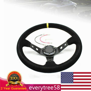 350mm Deep Dish Racing Steering Wheel Kit Horn Button Suede Leather 70mm Pcd