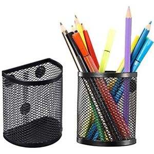 Magnetic Pencil Holder Mesh Storage Metal Baskets Container Organizer With 2