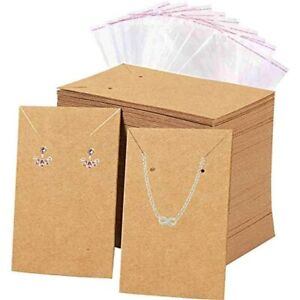 Earrings And Necklace Display Cards With 100 Self sealing Bags Holder For Home
