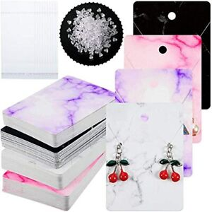 800 Pieces Marble Design Earring Card Display Holder Set Include 200 4 Color X