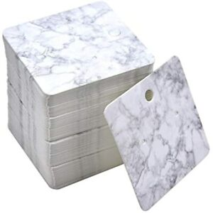 Monrocco 100 Pcs Paper Earring Display Cards Marble Design Holder Blank Tags For