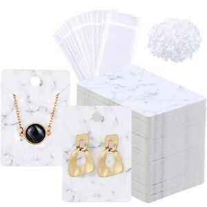800 Pieces Marble Earring Necklace Display Card Holder Set 200 Jewelry Cards 400