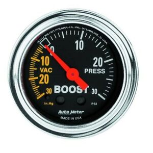 Autometer 2403 Traditional Chrome Mechanical Boost Vacuum Gauge