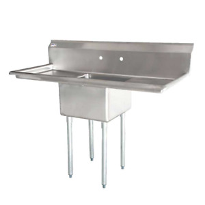 One Tub Pot Sink 3 5 Inch Center Drain 2 Drain Boards 43759 free Shipping