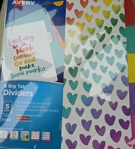 Avery 11394 Rainbow Vibes Design Dividers Colorful Hearts Design 5 Big Tab