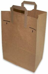 50 Paper Retail Grocery Bags Kraft With Handles 12x7x17 By Duro