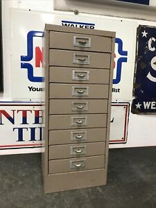 Vintage Metal 9 Drawer Parts Bin Utility Cabinet Industrial 30 Tall