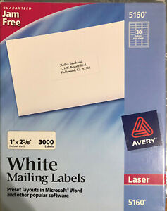 Avery 5160 White Mailing Labels 3000 Labels laser 30 Labels Per Sheet