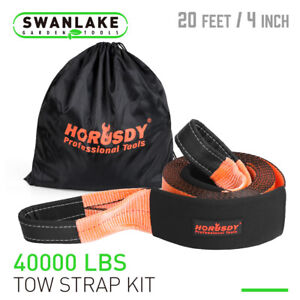 Recovery Tow Strap 4 X 20ft 40000 Lbs Break Strength Heavy Duty Rescue Rope