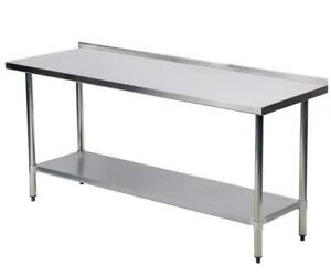 24 x60 Stainless Steel Work Table With Backsplash Kitchen Restaurant Table Eb