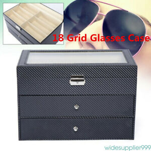Sunglass Eye Glasses Case Eyewear Display Storage Box Organizer 18 Grid Gift