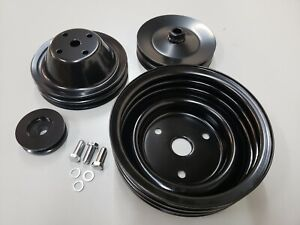 Sbc Small Block Chevy 2 3 Groove Black Steel Long Water Pump Pulley Kit 350