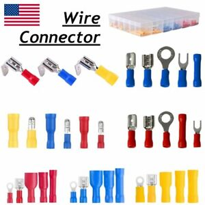 1200 102pcs Insulated Electrical Wire Splice Terminal Spade crimp ring Connector