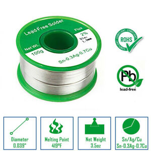 100g Lead Free Solder Wire Sn99 0 3ag Cu0 7 1 0mm With Rosin Core For Electronic