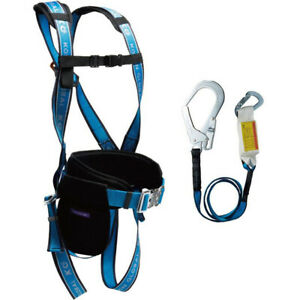 Harpye Safety Fall Arrest Protection Full Body Harness D ring Pad Belt Lanyard