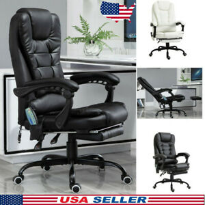 Massage Office Chair With Heating Function Leather Swivel Reclining Adjustable