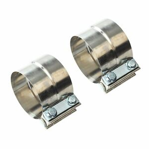 2pc For Catback Muffler Pipe 2 Stainless Exhaust Band Clamp Step Clamps