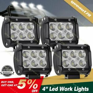 4x 4inch Cube Led Work Lights Driving Spot Pods Offroad Truck Pickup Jeep Wire