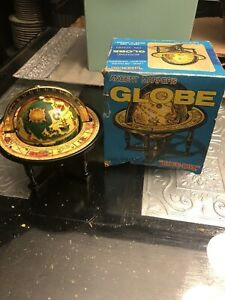Vintage Blue Box Small Old World Globe In Stand Table Top Zodiac Astrology