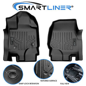 Smartliner 2015 2021 Ford F 150 Custom Fit Floor Mats Liners 1st Row Black